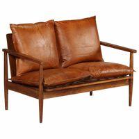vidaXL 2-Sitzer-Sofa Leder mit Akazienholz Braun