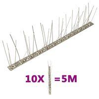 vidaXL 10-tlg. Vogelabwehr-Spikes-Set 5 m Edelstahl 5-reihig