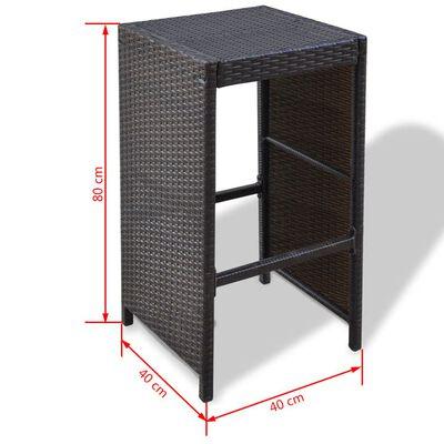 vidaXL 7-tlg. Gartenbar-Set mit Auflagen Poly Rattan Braun
