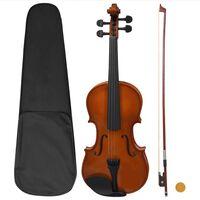 vidaXL Violine Komplettset mit Bogen und Kinnstütze Dunkles Holz 4/4