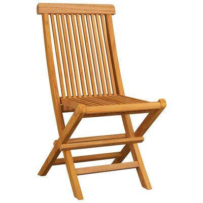vidaXL Gartenstühle mit Cremeweißen Kissen 8 Stk. Massivholz Teak