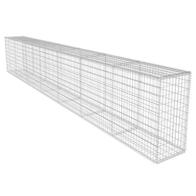 vidaXL Gabionenwand mit Abdeckung Verzinkter Stahl 600x50x100 cm