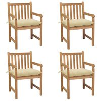 vidaXL Gartenstühle 4 Stk. mit Cremeweißen Kissen Massivholz Teak