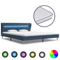vidaXL Bett mit LED und Memory-Schaum-Matratze Blau Stoff 160×200 cm