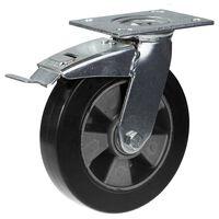 """200mm 8 """"Rizinusschwarzgummi mit Bremskraft 450 kg Tragfähigkeit"""