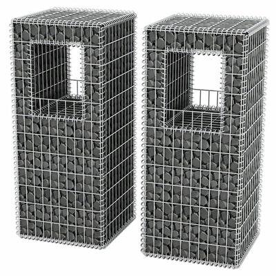 vidaXL Gabionenkorb Pfosten/Pflanzkasten 2 Stk. Stahl 50×50×120 cm,